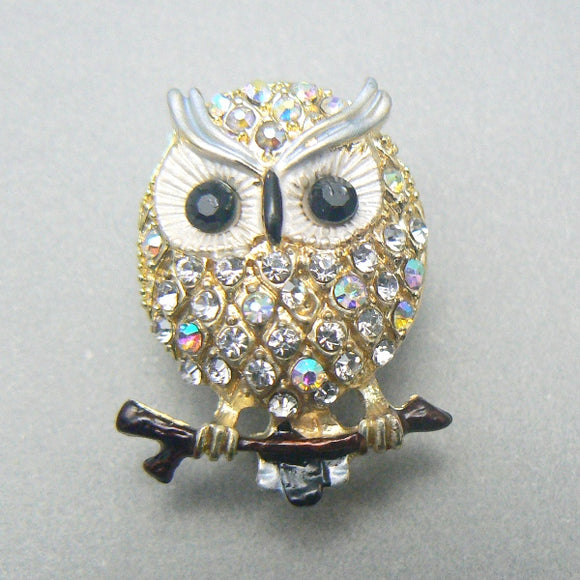 Tiny Owl Rhinestone Pin