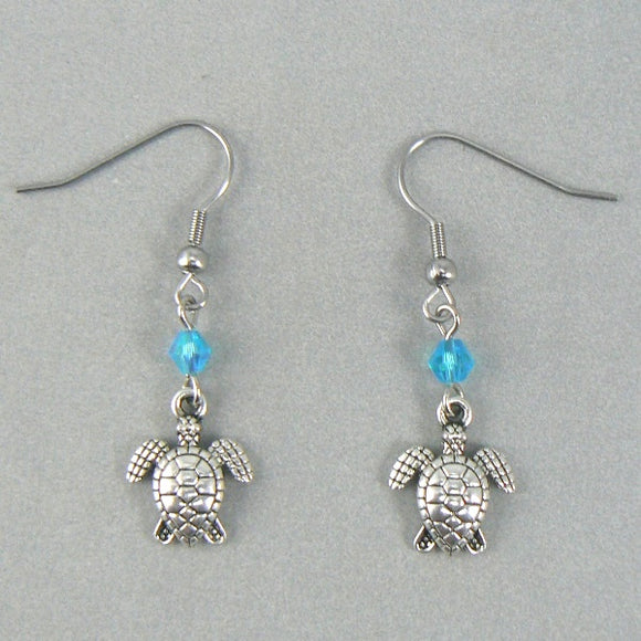 Tiny Two Sided Sea Turtle Silver Toned Earrings