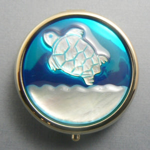 Turtle Mother of Pearl Pill Box