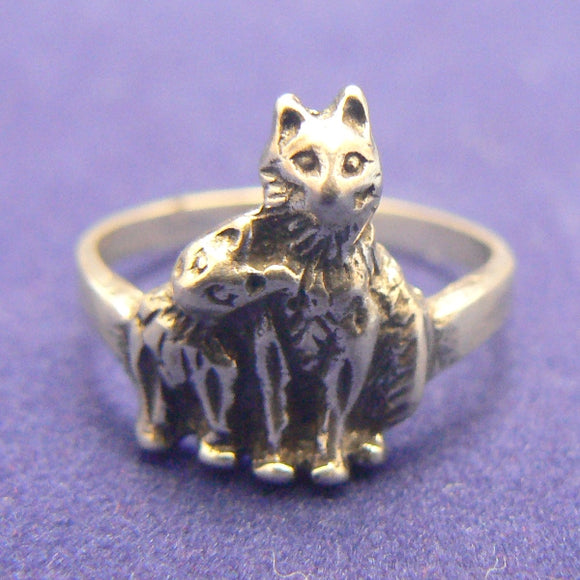 Two Cats Sterling Silver Ring