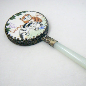 Two Tabby Cats Small Enamel & Jade Hand Mirror