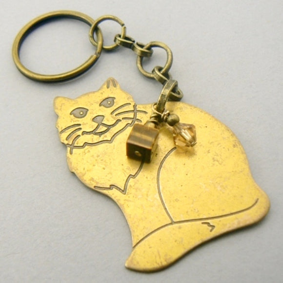 Vintage Brass Sitting Cat Keychain