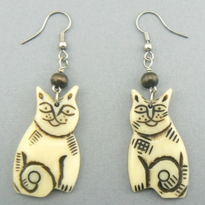Whimsical Cats Bone Earrings