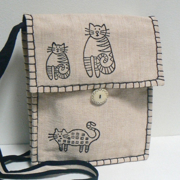 Whimsical Cats Shoulder Bag – Cream