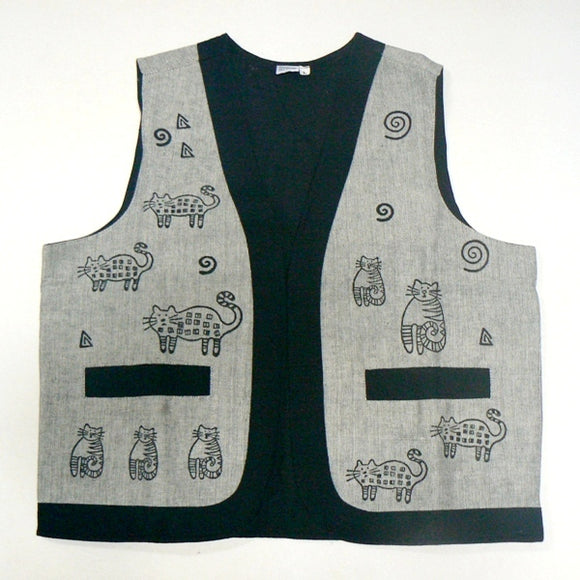 Whimsical Cats Woven Vest – Gray