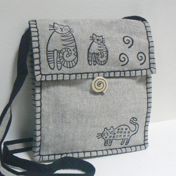 Whimsical Cats Shoulder Bag – Gray
