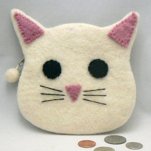 White Cat Face Felt Coin Purse