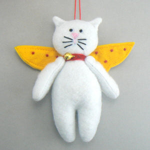 White Cat Felt Angel Christmas Ornament