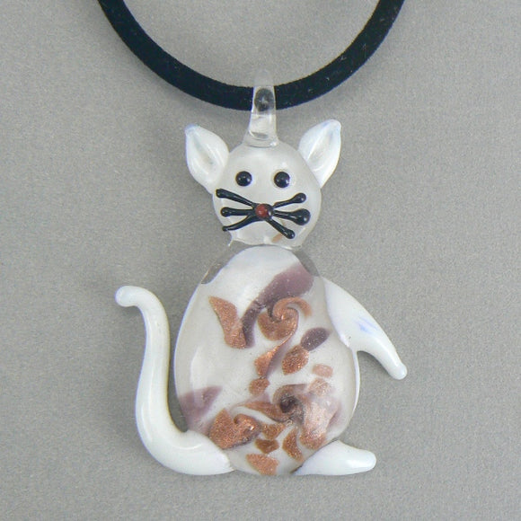 White Lampwork Glass Cat Necklace