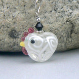 White Lampwork Heart Chicken Necklace