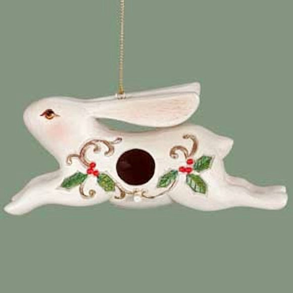 White Rabbit Ceramic Birdhouse Christmas Tree Ornament