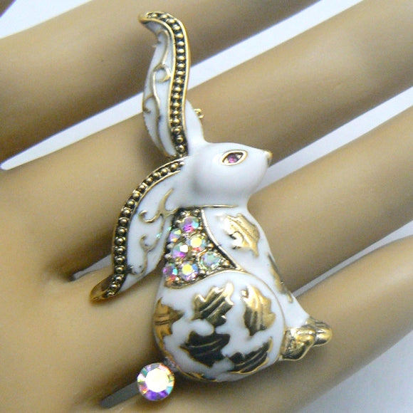 White Rabbit Crystal & Enamel Pin