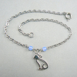 Cat Silhouette Silver Anklet