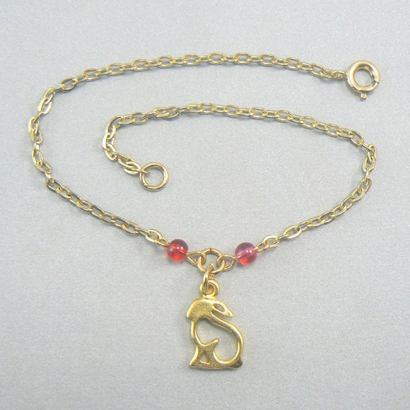 Rabbit Silhouette Gold Anklet