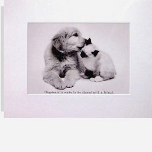 """Happiness is ..."" Matted  Cat & Dog Print"