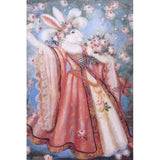 White Rabbit in Gown with Spring Flowers Print 2