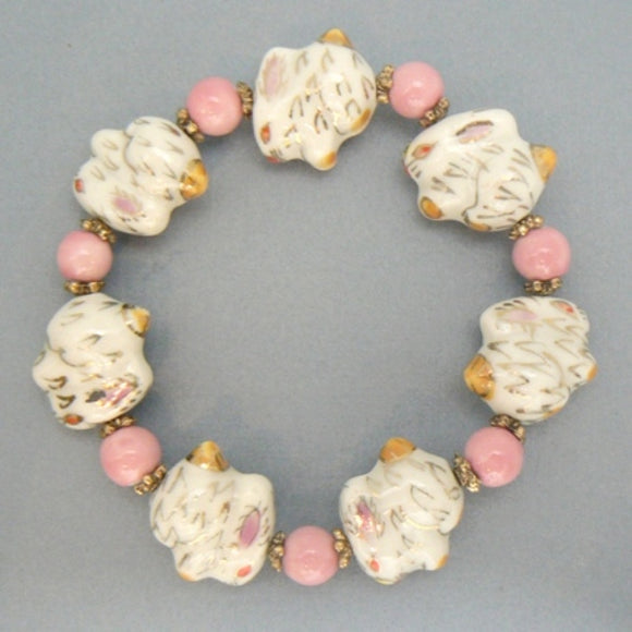 Porcelain Pink & White Rabbit Bracelet
