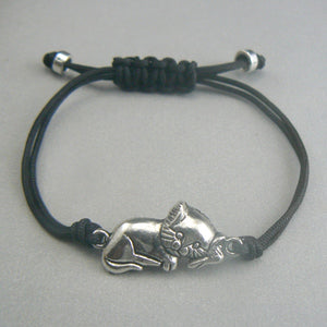 Lying Cat Silver Corded Bracelet