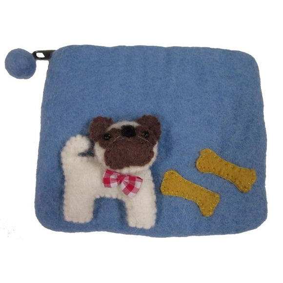 Pug Dog Felted Coin Purse