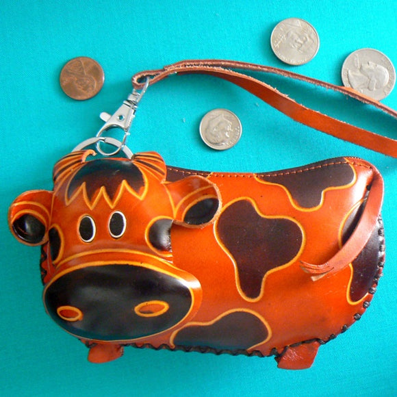 Leather Cow Wristlet Coin Purse