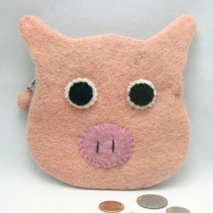 Pink Pig Face Felt Coin Purse