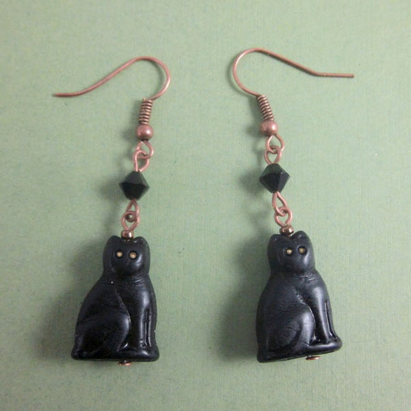 Sitting Black Cats Czech Glass Earrings