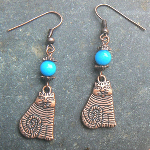 Copper Striped Cat & Turquoise Jade Earrings