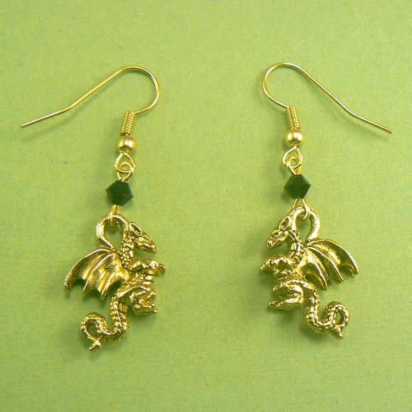 Gold Dragon Pewter Earrings
