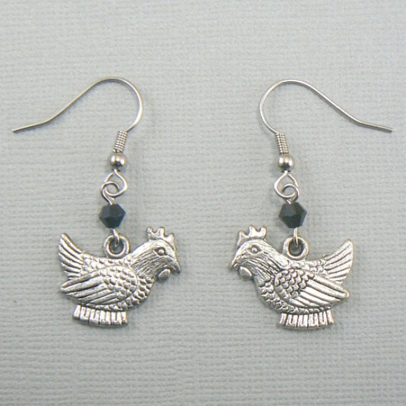 Sitting Hens Silver Toned Earrings