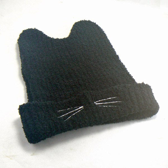 Cat Ears Knit Beanie Hat - Black