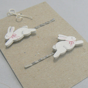 White Bunny Rabbit Wood Hair Pins