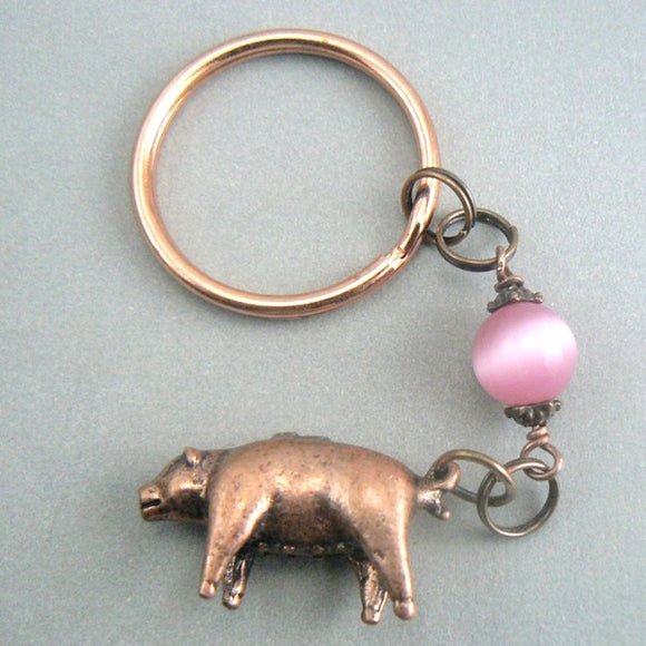 Copper 3D Pig Keychain