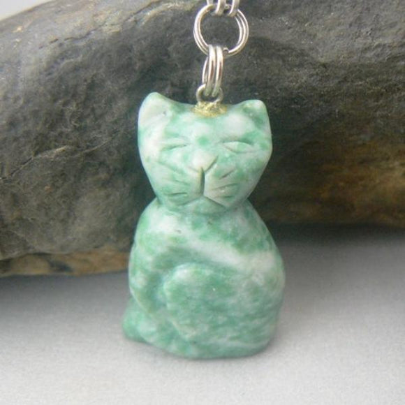 Carved Ching Hai Jade Cat Necklace