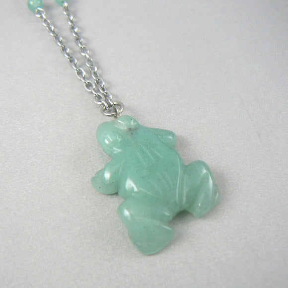 Green Aventurine Frog Necklace