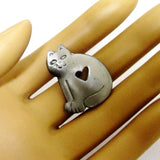 Pewter Cat Open Heart Lapel Pin 3