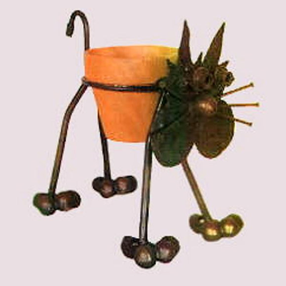 Nuts & Bolts Metal Cat Plant Holder Planter