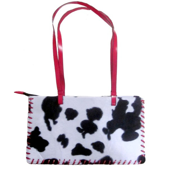Small Black & White Cowhide Tote - Cow Themed Gifts