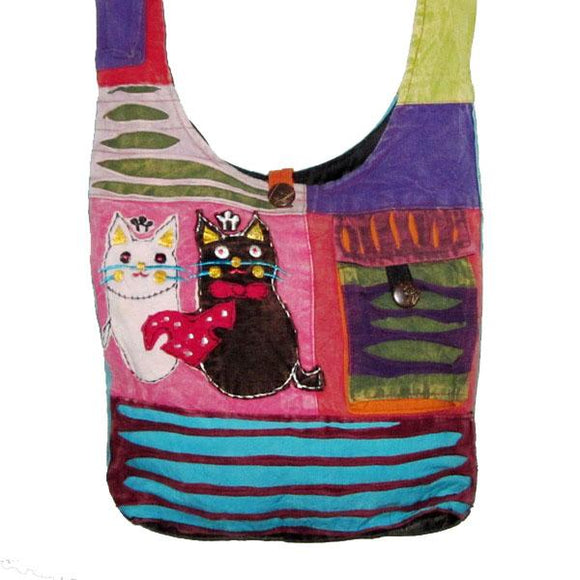 Two Cats Patch Hobo Bag #1