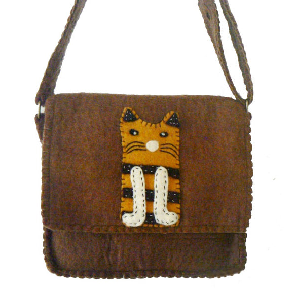 Brown FeltPurse with Orange Tiger Cat