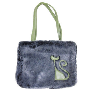 Plush Gray Purse with Green Cat