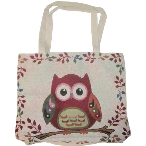 Owl Large Tapestry Shopping Tote Bag