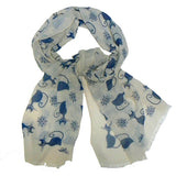 Cat Print Scarf - Beige & Blue