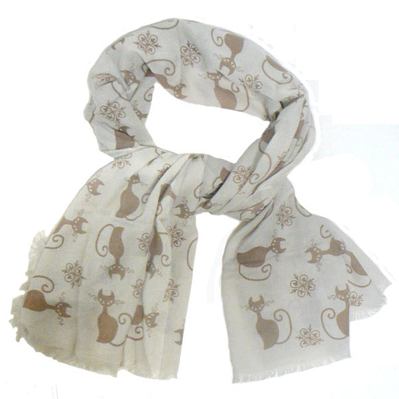 Cat Scarf – Beige & Tan