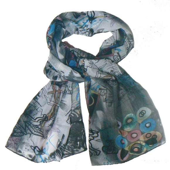 Avant-Garde Style Scarf with Cats