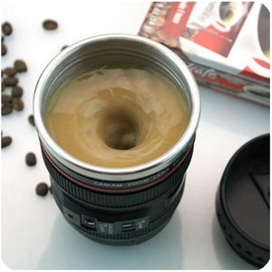 Camera Lens shaped self-stirring Mug