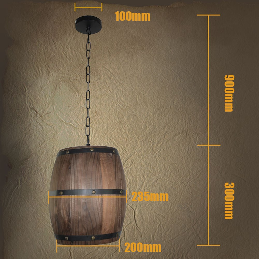 Wooden Wine Barrel Hanging Light