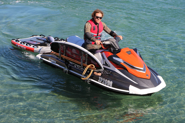 Jet ski board rack and rescue sled