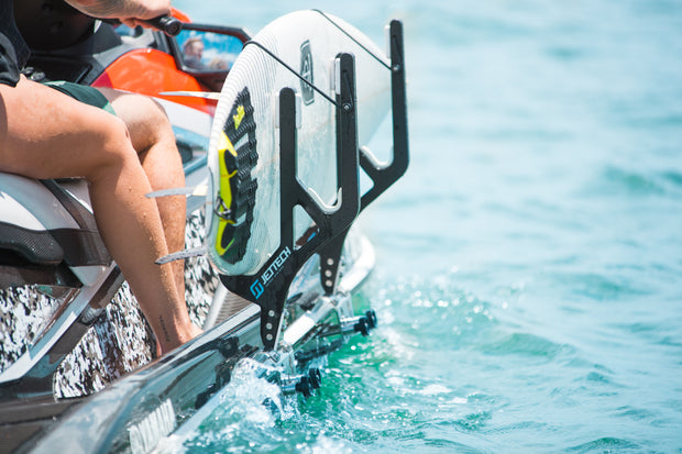 Jet ski surfboard rack close up