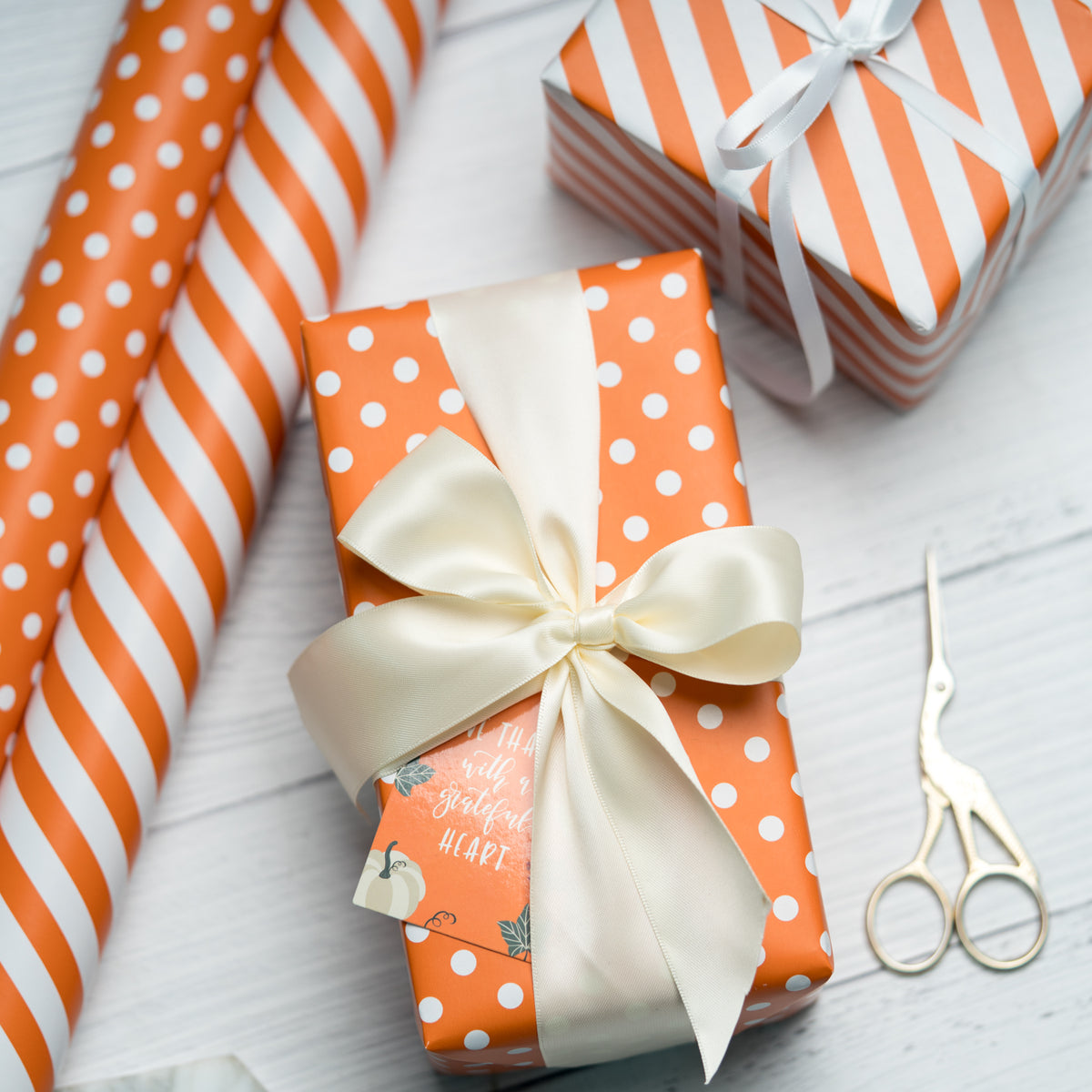 "Dots -Gift -Wrapping-Paper, Reversible,Orange- 30"" x33 feet-Continue-Roll-7"