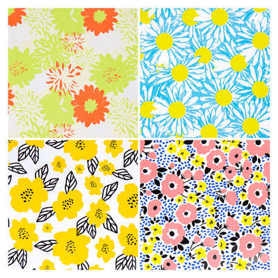 Wrapaholic-Fluorescent-Flowers-Gift-Wrapping-Paper-Roll-4-Rolls-Set-2